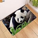 Eroihe Felpudo Patrón Animal del Panda 3D Alfombra del Piso Antideslizante Alfombra para Casa