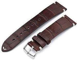 Cinturino per orologio in alligatore Strapcode 20mm, 21mm o 22mm MiLTAT Scala quadrata in vero alligatore americano, cinturino per orologio marrone scuro semi opaco