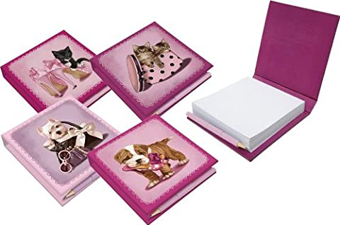 Cute Black & White Kitten with Pink Shoes Memo Pad & Pencil Telephone Block