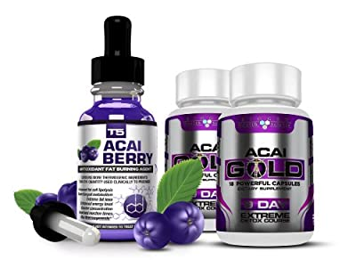 Strongest Legal ACAI BERRY Duo Saver Pack: T5 Fat Burners Acai Berry Serum + Acai Berry Detox Pills. (1 Month Supply) from Biogen Health Science