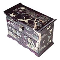Mother of Pearl Crane and Pine Tree in Purple Mulberry Paper Design Wooden Jewellery Mirror Trinket Keepsake Treasure Gift Asian Lacquer Box Case Chest Organizer