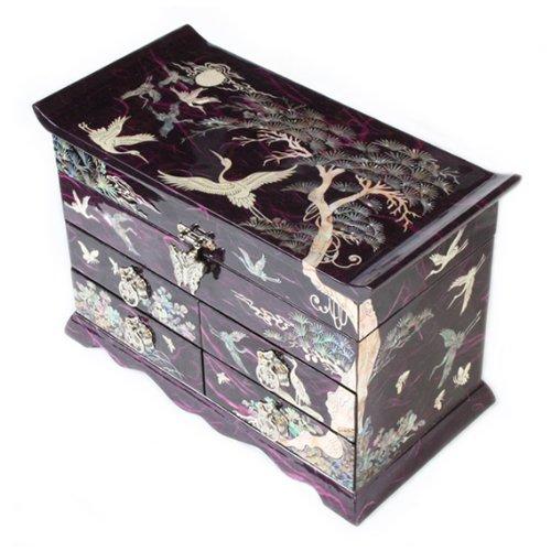 Mutter von Pearl Kran, und Kiefer Tree in violett Mulberry Papier Design Holz Schmuck Spiegel Schmuckkästchen Andenken Schatz Geschenk asiatische Lack Box Case Brust Organizer (Brust Holz-schmuck)