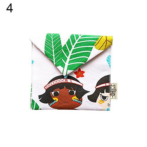 Saniswink Cartoon Mädchen Frauen Flap Sanitär Servietten Pad Reise Aufbewahrungstasche Baumwolle Aufbewahrungstasche Geldbörse Halter 4# (Sanitär-pad-halter)