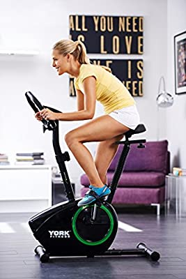 York Fitness Active 110 Exercise Bike - Digital Signage Display and Resistance Bands - Pedal Exerciser for Cardio Training and Weight Loss Machine - Black/Green by York