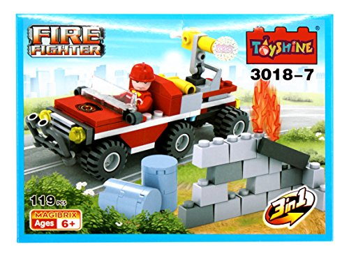 Toyshine Firefighter and Rescue Blocks Set, ABS Plastic Construction Toy, Starter Kit - (3018-7)