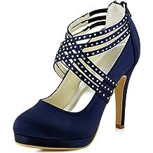 f3547bcf0 Zapatos de tacón alto de satén con punta cerrada y con bandas cruzadas de  diamantes de