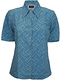 Simon Jersey Short Sleeve Open Collar Blouse Blue