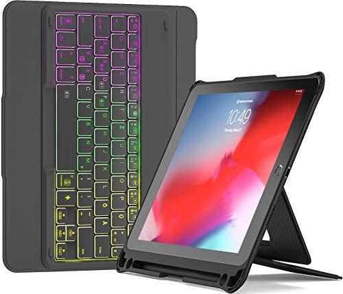 Inateck Tastatur Hülle kompatibel mit 9.7 iPad 2018(6. Gen), iPad 2017(5. Gen),iPad Air 2, iPad Air 1, abnehmbare Bluetooth Tastatur mit Stifthalter und DIY Hintergrundbeleuchtung, KB02004