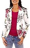 Damen Sommer Sweat Jersey Blazer Jacke Sweatblazer Jerseyblazer Sakko Kurz Ungefüttert Langarm Geblümt Blumen-Muster Bordeaux-Grau XS - 34 (S)