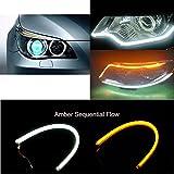 Suyisy 2 stücke x 24 '' LED Tagfahrlicht Scheinwerfer Auto Streifen Licht Blinker Lampe Gelb und Weiß DRL Externe Verbindung