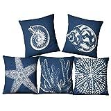 WMWZ Tema del océano biológico Funda de Almohada Azul Cuadrada Tortuga Marina Decorativo de Estilo mediterráneo Algodón Lino Establece 18 x 18 Pulgadas Paquete de 5