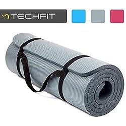 TechFit Colchón para Yoga y Fitness, Espesor Extra de 15 mm, 180 x 60 cm, Ideal para Ejercicios en el Suelo, Gimnasia, Camping, Estiramientos, Abdómenes, Pilates (Gris)