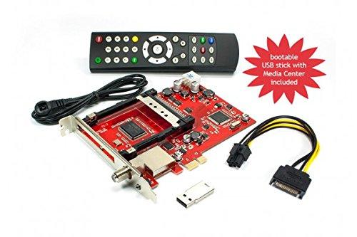 DVBSky S950C PCIe Karte mit 1x DVB-S2 Tuner und CI Common Interface Slot für PayTV, keine CD stattdessen partitionierter USB Stick mit Windows Software inklusive bootfähigem Linux Media Center
