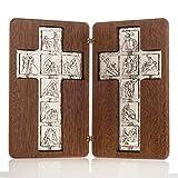 Holyart Díptico Plata Cristo Resucitado y Cruz Vía Crucis 14 Estaciones