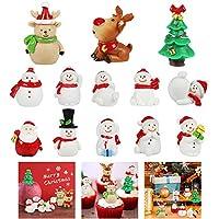 MMTX 13Piezas Adornos Decoración Navideños Miniatura Navidad Regalo Figuras de Resina, Árbol de Navidad de Papá Noel DIY Ornamento Manualidades para Decoración HogarJardín Bonsái Casa de Muñecas