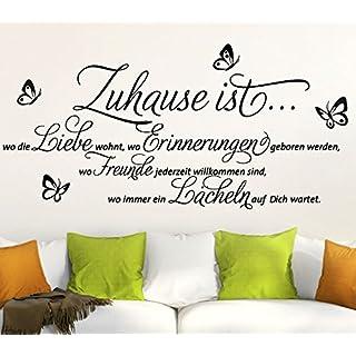 Wandora Wandtattoo Zitat Zuhause ist + Schmetterlinge I schwarz (BxH) 120 x 52 cm I Wohnzimmer Familie Sticker Aufkleber Wandaufkleber Wandsticker G002