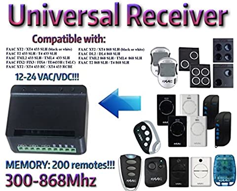 Récepteur 2 canaux universel Rolling Code fixe 300Mhz-868Mhz 12 - 24 VAC/DC. Compatible avec: FAAC FAAC XT2 433 SLH / XT4 433 SLH / T2 433 SLH / T4 433 SLH / TML4 433 SLH / TML4 433 SLH / XT2 868 SLH / XT4 868 SLH / DL2 868 SLH / DL4 868 SLH / T2 868 SLH / T4 868 SLH / TML4 868 SLH / TML4 868 SLH télécommandes!!!