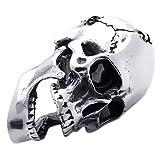 KONOV Schmuck Edelstahl Gotik Totenkopf Schädel Herren-Anhänger mit 70cm Kette, Biker Halskette, Silber