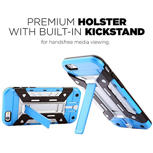 FOGEEK Schutzhülle iPhone 6 Plus Hülle : [Transformer ] Hybrid Armor Defender Case Stoßfest Schutz Tasche Schutzhülle für iPhone 6/6s Plus mit Kartenfach und Ständer-black G