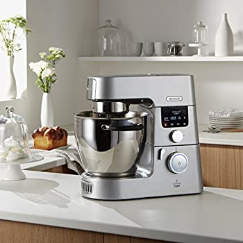 Kenwood Stand Mixer for Baking Stylish Kitchen Machine with Induction Heating in Stainless Steel, 6 In-bowl Tools & 6.7 Litre Bowl, Temperature Range: 20C-180C, App Connected, 1500 W, KCC9060S, Silver