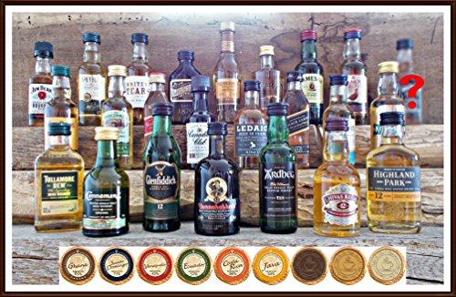 24 Premium Whisky Miniaturen aus Schottland Irland USA Kanada mit 24 DreiMeister Edel Schokoladen, kostenloser Versand Schokolade Kanada
