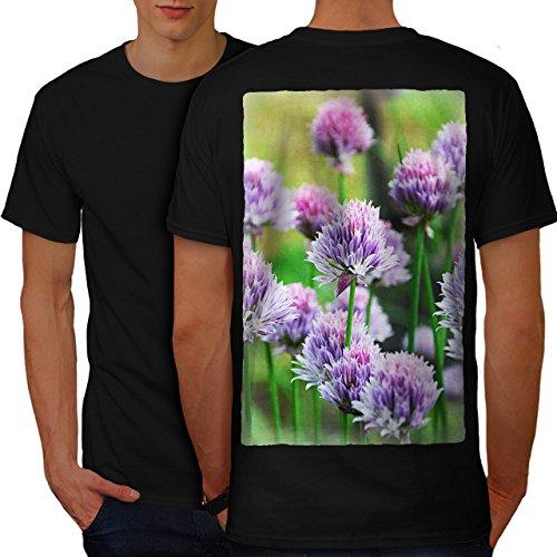 Klee Blume Wild Natur Natur Herren M T-shirt Zurück | Wellcoda (Klee Licht-t-shirt)