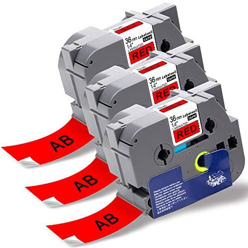 Labelwell Tze Schriftband TZe-461 TZe461 TZ-461 TZ461 36 mm x 8m Schwarz auf Rot Selbstklebend für Brother P-touch PT-P900W PT-P950NW PT-3600 PT-9200PC PT-9400 PT-9500PC PT-9600 Beschriftungsgerät