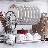 Befied Besteckhalter Abtropfgestell mit 2 Etagen Geschirrtrockner aus Edelstahl 44x25x38cm Abtropfregal Küche Geschirrabtropfkorb für Teller Tassen und Besteck
