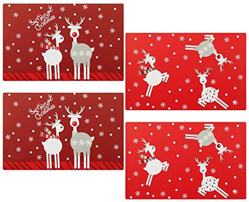 COM-FOUR® 4 piezas Mantel Navidad - Mantel individual