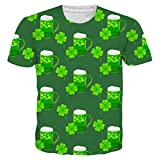 Idgeatim Herren ST Patrick's Day t Shirt ST Patricks Day Kostüm T-Shirt Bunter Rauch 3D Printed Fashion Top T-Shirt