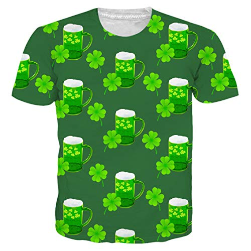 ccdfdc83d Idgreatim Teenagers ST Patrick's Day t Shirt Ireland Irish Clover Leaf  Casual T-Shirts Colorful