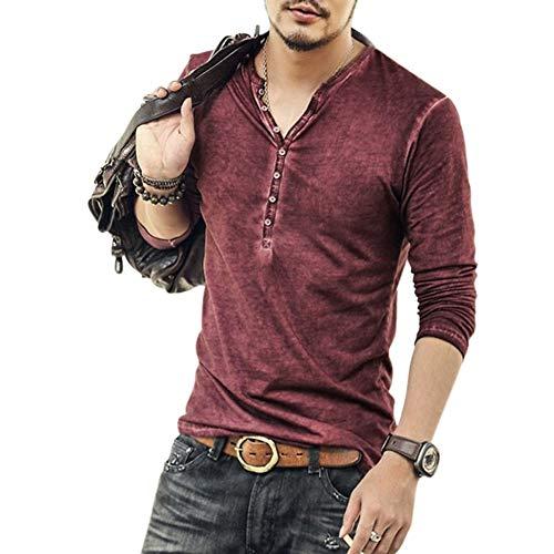 Uomo Camicia in Cotone Slim Fit Estate Elegante Casual Maniche Lunghe Camicie Spiaggia Regular Fit Uomo Colore Puro Classico Lavoro Shirts