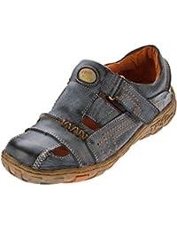 Sandaletten Leder Schuhe Damen Klettverschluss Halbschuhe Schwarz Weiss  Gelb Rot im Used Look 195de6292c