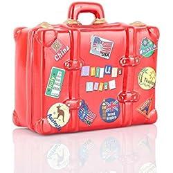 Hucha de vacaciones de cerámica con candado y llave, color rojo,diseño de maleta,