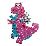 2 Aufnäher Aufbügler Flicken Applikationen Pink Dino Drache 9,5x7cm Pink Dino Drache 9,5x7cm Set zum Ausbessern von Kinder Kleidung mit Design TrickyBoo Zürich Schweiz für Deutschland und Österreich