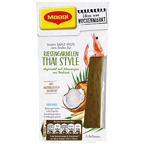 MAGGI Ideen vom Wochenmarkt Riesengarnelen Thai Style, Würz-Paste zum Braten, mit Kokosmilch & Zitronengras, 3 Portionen, 6er Pack (6 x 88 ml)