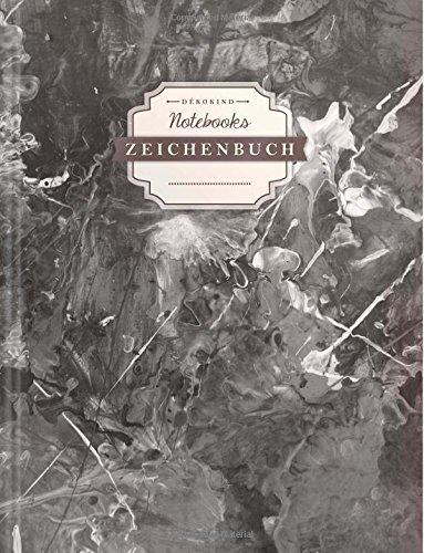 DÉKOKIND Zeichenbuch | DIN A4, 122 Seiten, Register, Vintage Softcover | Leeres Buch zum Selbstgestalten | Motiv: Schwarze Kleckse