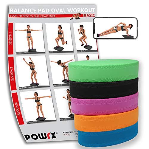POWRX Balance Pad Deluxe Oval inkl. Workout I Ganzkörpertraining gelenkschonend für Gleichgewicht Stabilität Koordination I Hautfreundliches TPE 28 x 17 x 6 cm I Versch. Farben Grün