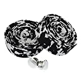 Kingou Lenkerband für Rennrad, EVA-Kunststoff, 2 Stück pro Set, schwarz/weiß