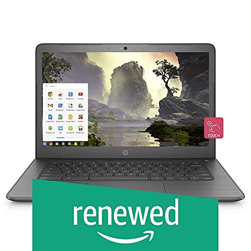 (Renewed) HP Chromebook 14-Inch Thin and Light Touchscreen Laptop with 180-degree Hinge(Celeron/4GB/64GB eMMC Storage/Chrome OS/Backlit/Touch/Chalkboard Grey/1.5kg), 14-ca002TU