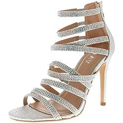 Viva Mujer Diamante Medio Talón Correa Múltiple Boda Fiesta Noche Sandalias Zapatos - Plata KL0308T 5UK/38