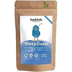 SleepDeep Abendtee, Einschlaf- und Durchschlaftee, Beruhigungstee aus 10 Heilpflanzen zB Baldrian + Reishi, 100% natürliche Kräuterteemischung, 30-Tage-Kur - 60g, Made in Germany by Buntfink