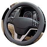 1pcs Noir Gris Beige PU Micro Fibre Couverture De Volant De Voiture 0907 pour Kia, Hyundai, Toyota, Honda, Rio; Lada,B- Gris