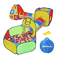 ONEPLAY 5pc Kids Ball Pit Tents and Tunnels, Toddler Jungle Gym Play Tent with Play Crawl Tunnel Toy, for Boys babies infants Children, w/ Basketball Hoop, Indoor & Outdoor Gift