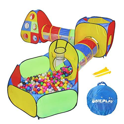 ONEPLAY 5pc Tende e Tunnel per buche per Bambini, Tenda per Bambini nella Palestra della Giungla con Gioco Giocattolo per Tunnel a Scorrimento, con canestro da Basket, Regalo per Interni ed Esterni
