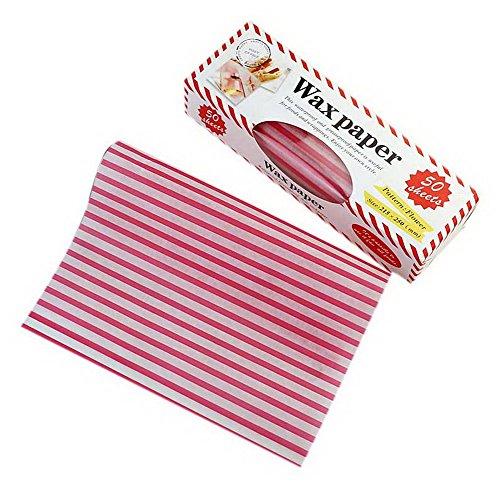 Koala Superstore 50 Blatt-Sandwich-Burger-Krapfen-Antiöl Verpackungspapier mit Kasten-Rosen-roten Streifen