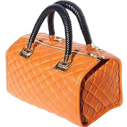 Sac de Queue en cuir de vache matelassè avec accessoires dorés 7003 Cognac