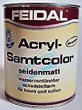 Feidal Acryl Samtcolor / silbergrau Ral 7001 / seidenmatt / 250 ml / auf Wasserbasis / PU-verstärkt / für höchste Ansprüche / für Holz, Stahl, Alu, Zink, Hart-PVC, Tapeten, Beton, Mauerwerk