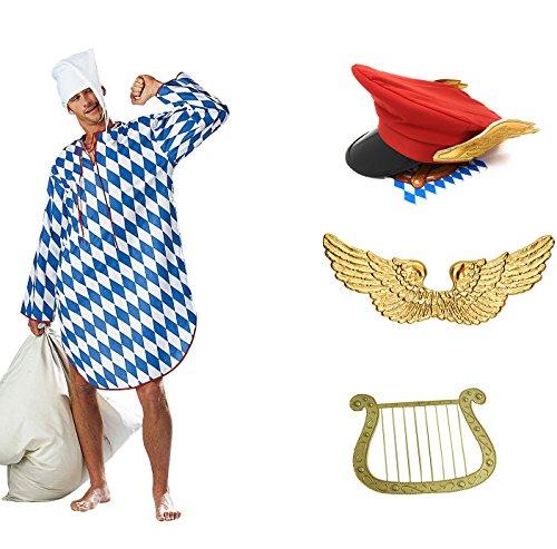 Münchner Dienstmann Kostüm mit Flügeln Hut Harfe und Nachthemd (Large) (Himmel Kostüme)