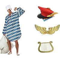 Ein Engel im Himmel Münchner Dienstmann Kostüm mit Flügeln Hut Harfe und Nachthemd